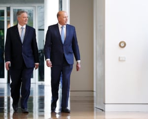 Peter Dutton arrives with Mathias Cormann for the party-room meeting