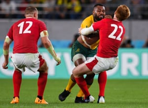 Australia's Samu Kerevi gave away a penalty for leading with the arm against Wales' Rhys Patchell.