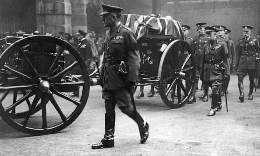 Field Marshal Douglas Haig and Field Marshall John French, beside the coffin of the unknown warrior as it is carried in procession from Victoria Station to its final resting place at the Cenotaph in Whitehall, 11 November 1920.