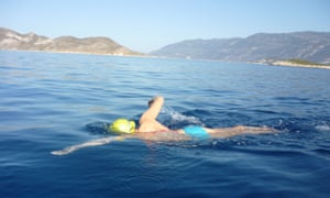 Nina Hall swimming between Kaş, in Turkey, and the Greek island of Kastellorizo.