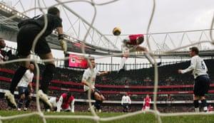 Bendtner comes off the bench to score Arsenal's winner against Tottenham in December 2007, his first Premier League goal.