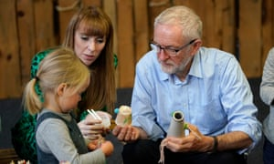 Jeremy Corbyn and Angela Rayner at a children's arts project in Leeds, November 2019