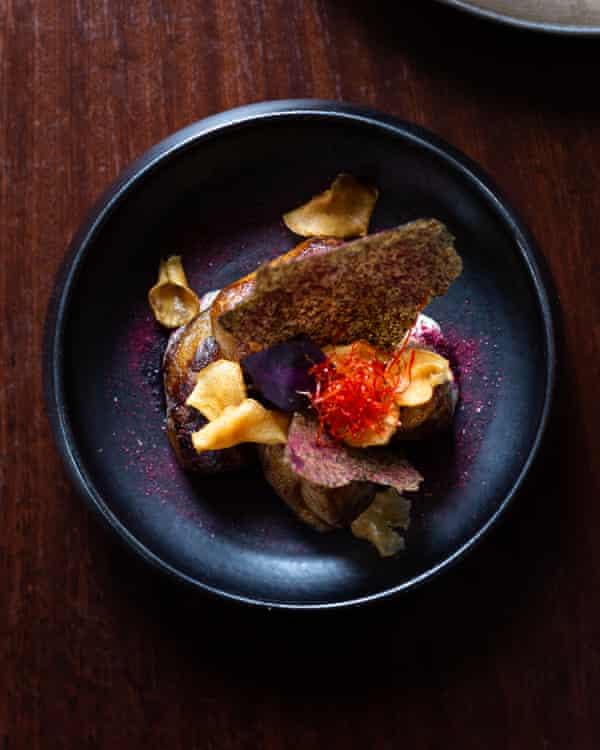 Caractere's roast jerusalem artichokes on beurre noisette.