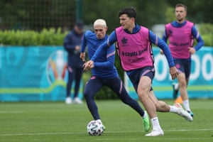 Harry Maguire during the England training session at Tottenham Hotspur Training Centre yesterday.