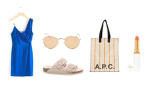 Dress, £65, stories.com Sunglasses, £12, topshop.com Sandals, £115 by Birkenstock from office.co.uk Bag, £150 by A.P.C. from matchesfashion.com Lip Gelee, £40 by Tom Ford from spacenk.com