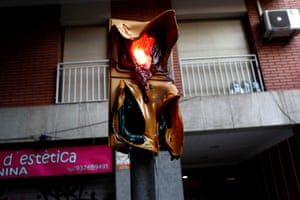 Melted traffic lights are left following the pro-separatist protest in Barcelona
