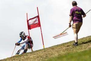 Domenic Senn of Switzerland passes a gate in the men's Super G Super Combined
