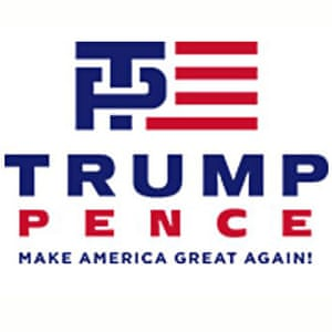 Campaign logo for Donald Trump and Mike Pence