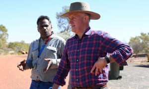 Malcolm Turnbull at the Battery Hill mining museum with tradition owner Ronald Plummer at Tennant Creek