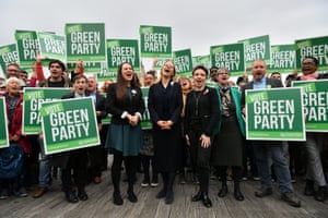 Bristol, UKThe Green party co-leader Siân Berry (centre), the party's deputy leader and parliamentary candidate for Newport West, Amelia Womack (left), and the Bristol West candidate, Carla Denyer (right), at the launch of the party's general election manifesto