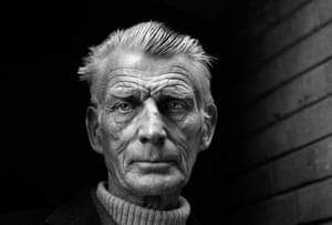 Samuel Beckett is pictured leaving the Royal Court Theatre, Sloane Square, London in April 1976