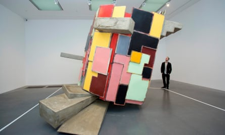 Phyllida Barlow's piece untitled: upturned house, 2 at Tate Modern, London.