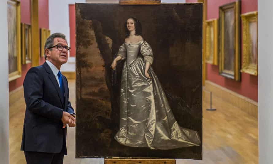 New acquisition … Tate chairman Lord Browne with Portrait of an Unknown Lady (1650-55) by Joan Carlile.