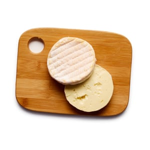 Felicity Cloake Tartiflette 05. Cut the cheese in half horizontally to create two discs.