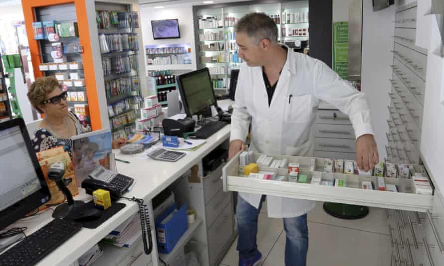 A pharmacy in Crete, Greece.