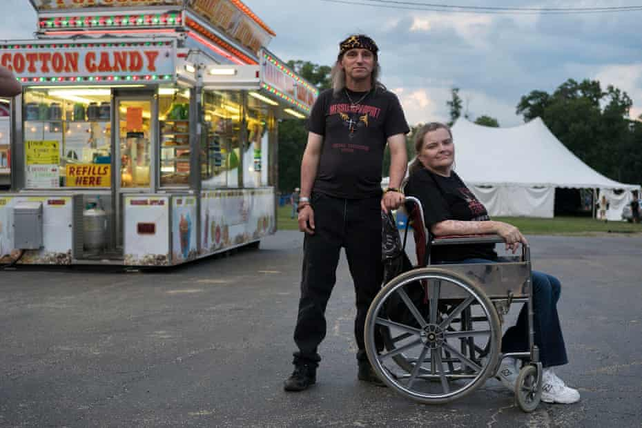 Donnie and Nancy Loughney of Akron, Ohio pose for a picture. The Loughneys have been attending Christian hardcore and metal festivals since the 1980s.