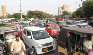 Vehicles stuck in traffic jam in Karachi