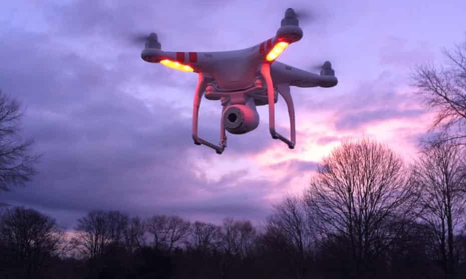 A non-imaginary drone flies over Windsor.