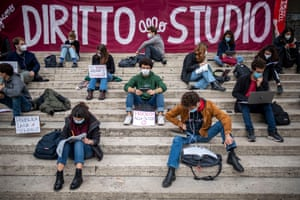Rome, Italy. Students attend a remote lesson in front of the Ministry of Public Education during a demonstration against Covid lockdown measures