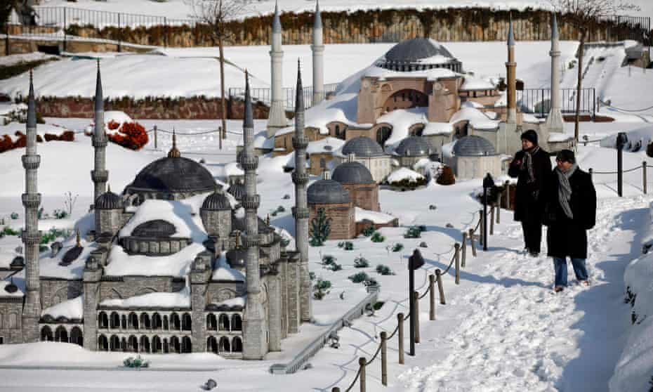Models of the Blue Mosque and Hagia Sophia at the Miniaturk park in Istanbul.