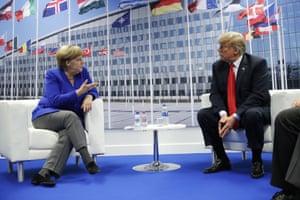 Donald Trump meets with Angela Merkel