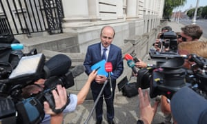 Fianna Fail leader, Micheal Martin, speaks to the press after the deal with Fianna Fáil and the Green party was agreed, four months on from the general election