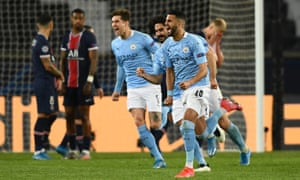 Riyad Mahrez of Manchester City celebrates with team mates after scoring their second goal.