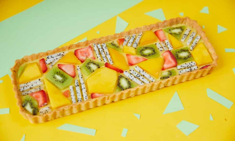 Kim-Joy bakes: Mango and coconut tessellated fruit tart; Christopher Thomond for The Guardian.
