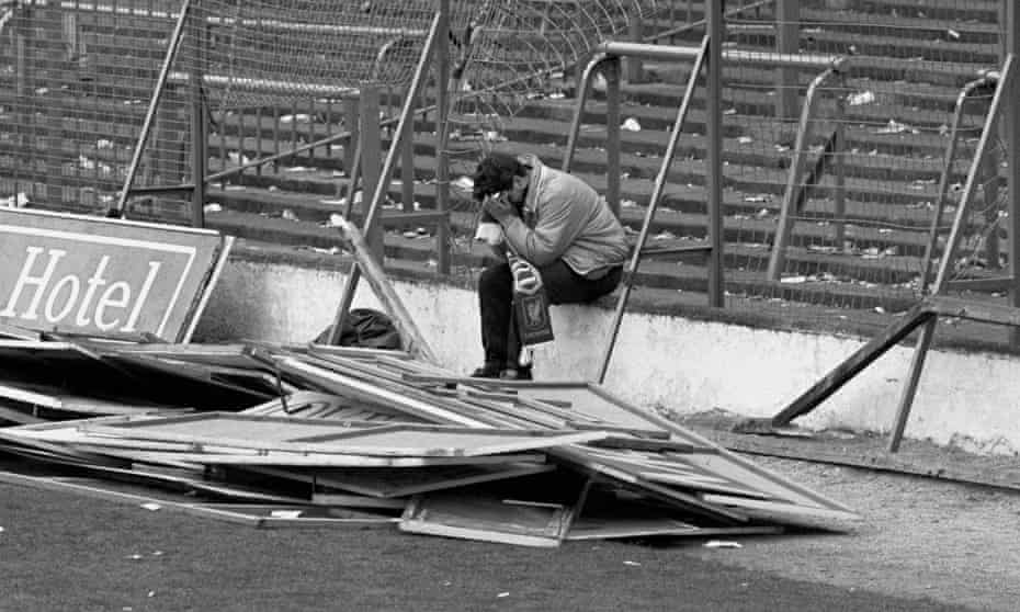 A Liverpool fan at Hillsborough after the disaster, which killed 96 people