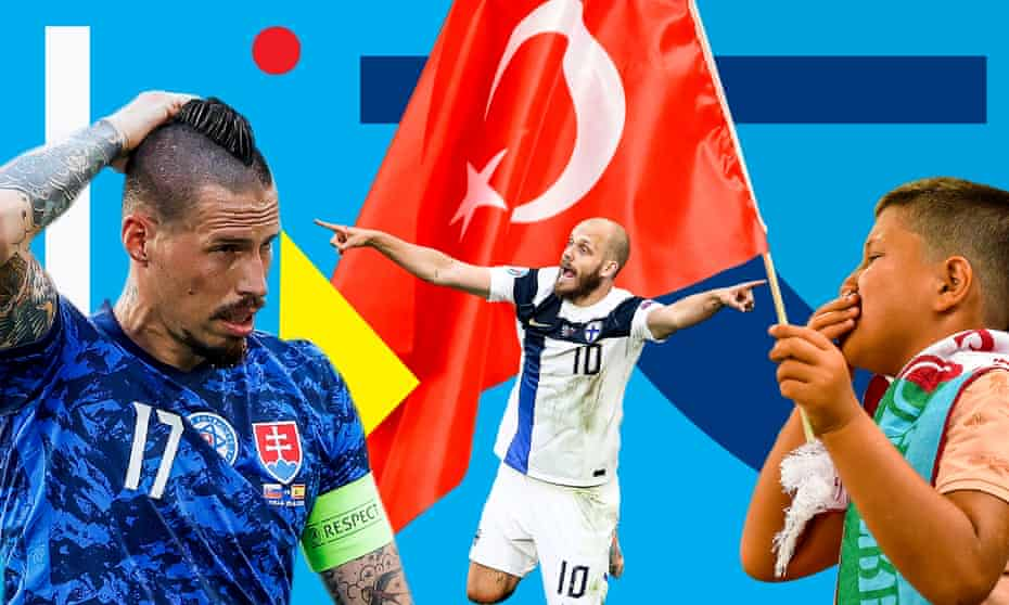 Left to right: Slovakia's Marek Hamsik, Finland's Teemu Pukki and a dejected Turkish fan will all be wondering what might have been.