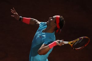 Spain's Rafael Nadal serves against Argentina's Diego Schwartzman during their semi-final in the French Open at Roland Garros.