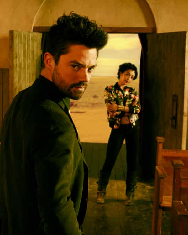 With Preacher co-star, and partner, Dominic Cooper.