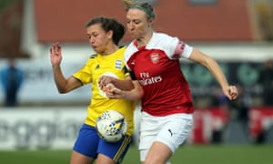 Birmingham's Charlie Wellings and Arsenal's Louise Quinn battle for possession.