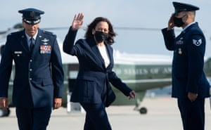 Kamala Harris boards Air Force Two prior to departure from Joint Base Andrews in Maryland.