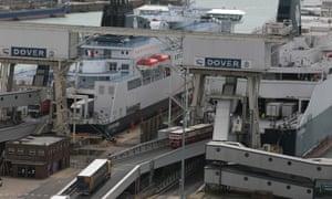 Lorries boarding ferries in Dover