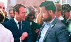 Emmanuel Macron with his senior security officer Alexandre Benalla in June 2017.