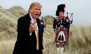 Donald Trump on the sand dunes of the Menie estate.
