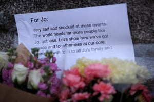 A message to Jo Cox near the scene where she was killed in Birstall.