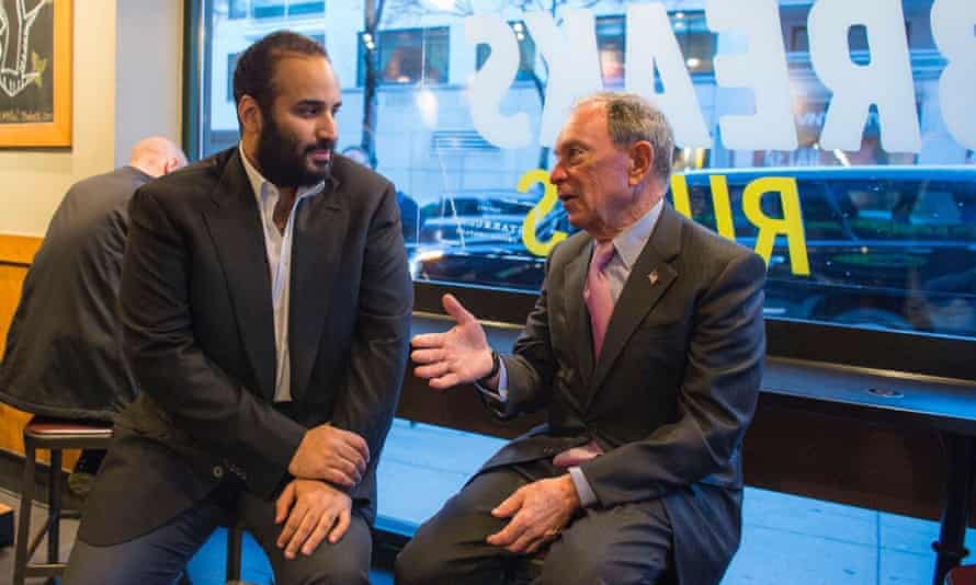 Mohammed bin Salman meets former New York mayor Michael Bloomberg at a coffee shop in New York.