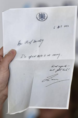 A copy of a memo written by ex-Labour minister Liam Byrne and sent to the chief secretary of the Treasury in 2010 reading: 'I'm afraid there is no money.'