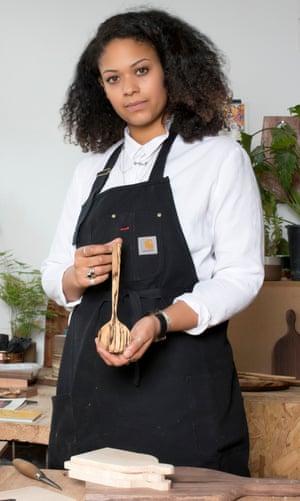 Wooden spoon carver Sophie Sellu in her studio