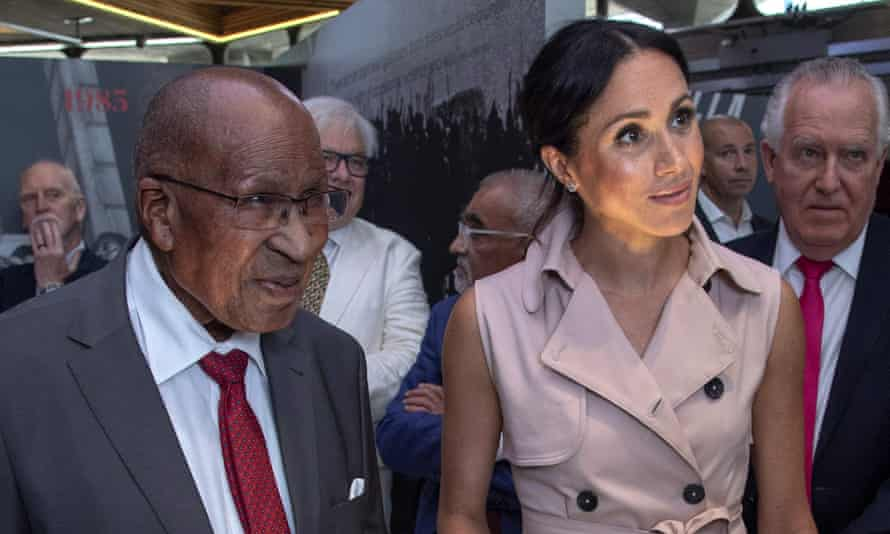 Andrew Mlangeni with Meghan Markle during their visit to the Nelson Mandela centenary exhibition on Tuesday