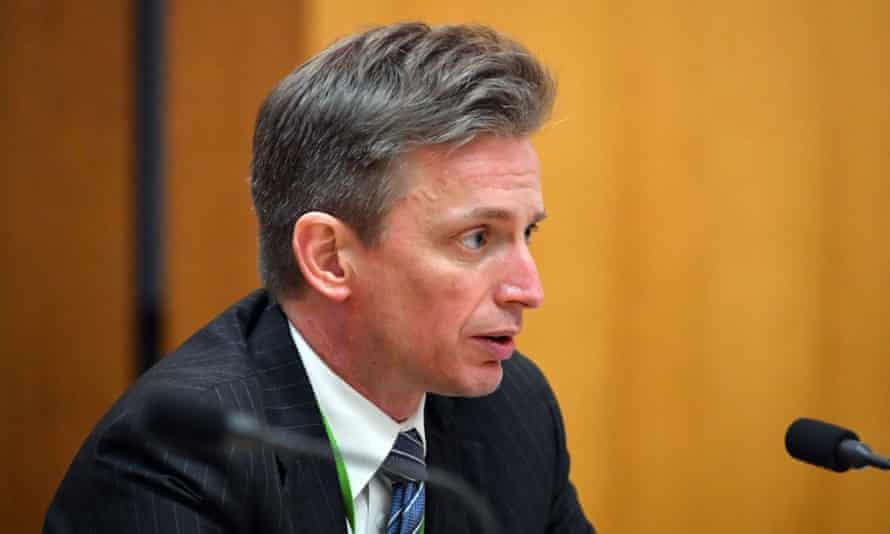 Jeremy Hirschhorn appears before a Senate Estimates hearing