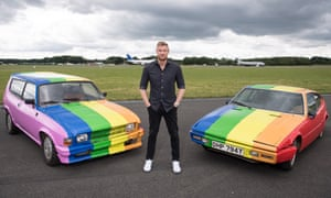Top Gear's Andrew Flintoff with the cars presented to the sultan of Brunei after they had been resprayed.