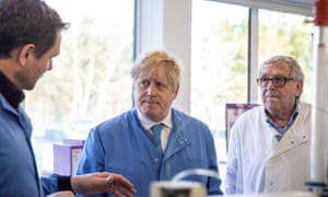 Boris Johnson visits the Mologic Laboratory at the Bedford Technology Park.