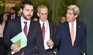 John Kerry, right, with White House senior adviser Brian Deese, left, and Todd Stern, the US special envoy for climate change