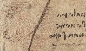 A detail of Leonardo's thumbprint