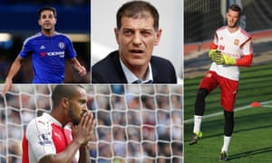 Chelsea's Cesc Fàbregas, Slaven Bilic of West Ham, David de Gea of Manchester United and Arsenal's Theo Walcott. Photographs by Reuters and Getty