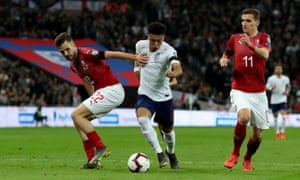 Jadon Sancho breaks through the Czech Republic defence.