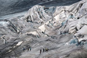 The Rhone glacier is covered in blankets to prevent it from melting